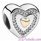 Disney Pandora Always in My Heart Silver Charm with 14k gold heart & 26 Cubic Zirconias Limited Edition - Mothers Day Collection 2015