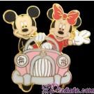 WDW -2001 Walt Disney Travel Company Mickey & Minnie in Pink Car Pin