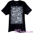 Pirate For Hire Chalkboard Adult T-shirt (Tee, Tshirt or T shirt) ~ Disney's Pirates Of The Caribbean
