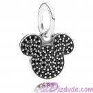 "Disney Pandora ""Sparkling Mickey Icon"" Sterling Silver Charm with 67 Black Crystals"