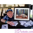"Warwick Davis holding the ""Defend-Ears of the Kingdom"" Cel just after he autographed the back ~ © Dizdude.com"