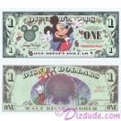 "2000 ""A"" $1 Disney Dollar - Millennium Mickey - Disney World back - ""A"" Series from DIsneyland ~ © DIZDUDE.com"