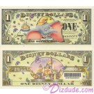 """2005 """"D"""" $1 MINT UNC Disney Dollar - Dumbo front with Disneyland Sleeping Beauty's Castle and barcode on back - """"D"""" 50th Anniversary Series from Disney World ~ © DIZDUDE.com"""