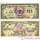 "2005 ""D"" $10 UNC Disney Dollar - Stitch front with Disneyland Sleeping Beauty's Castle and barcode on back - ""D"" 50th Anniversary Series from Disney World ~ © DIZDUDE.com"