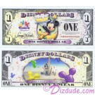 "2009 ""T"" $1 UNC 5 DIGIT Disney Dollar - Mickey and Pluto with Cake front with Cinderella's Castle in Clouds on back - Celebrate You series from Disney Store ~ © DIZDUDE.com"
