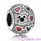 "Disney Pandora ""Sparkling Mickey and Hearts"" Sterling Silver Charm with Cubic Zirconias"