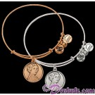 Princess Leia Antiqued Rafaelian Gold or Silver Finished Star Wars Adjustable Charm Bangle - by Alex & Ani