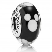 """Disney Pandora """"Classic Mickey"""" Sterling Silver Charm with Black and White Murano Glass"""