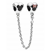"""Disney Pandora """"Mickey and Minnie Mouse Icon"""" 925 Sterling Silver Safety Chain with Red & Black Enamel - Disney World Parks Exclusive"""