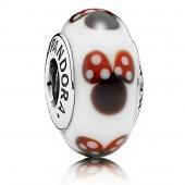 "Disney Pandora ""Classic Minnie"" Sterling Silver Charm with Murano Glass"