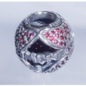 """Disney Pandora """"Minnie's Sparkling Bow"""" Sterling Silver Charm with Red Cubic Zirconias - Disney World Parks Exclusive"""