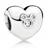 """Disney Pandora """"Heart of Mickey"""" Sterling Silver Charm with Cubic Zirconias"""