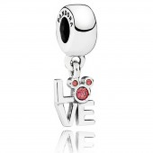 "Disney Pandora ""Love Mickey"" Sterling Silver Charm with Red Cubic Zirconias"
