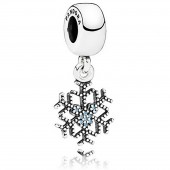 "Disney Pandora ""Frozen Mickey's Sparkling Snowflake"" Sterling Silver Charm with Cubic Zirconias"
