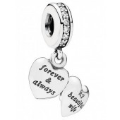 Disney Pandora My Beautiful Wife Silver Heart Locket Dangle Charm with Cubic Zirconias - Mothers Day Collection 2015