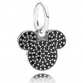 """Disney Pandora """"Sparkling Mickey Icon"""" Sterling Silver Charm with 67 Black Crystals"""