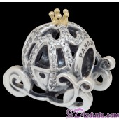"Disney Pandora ""Cinderella's Pumpkin Coach"" 14 Karat Gold and Sterling Silver Charm set with 80 Cubic Zirconias"