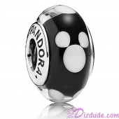 "Disney Pandora ""Classic Mickey"" Sterling Silver Charm with Black and White Murano Glass"