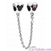 "Disney Pandora ""Mickey and Minnie Mouse Icon"" 925 Sterling Silver Safety Chain with Red & Black Enamel - Disney World Parks Exclusive"