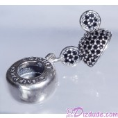 "Disney Pandora ""Mickey Sparkling Ear Hat"" Sterling Silver Charm with Black Crystals - Disney World Parks Exclusive"