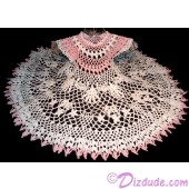 Hand Made Crocheted Lace Baby Dress for Newborn 0-3 months - Christmas, Baptism or Christening - White and Pink