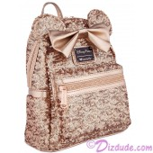 Minnie Mouse Rose Gold Sequined Mini Backpack by Loungefly - Disney Parks © Dizdude.com