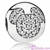 "Disney Pandora ""Mickey Pavé Clip"" Sterling Silver Charm with Cubic Zirconias"