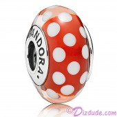 "Disney Pandora ""Minnie's Signature Look"" Sterling Silver Charm with Red and White Murano Glass"