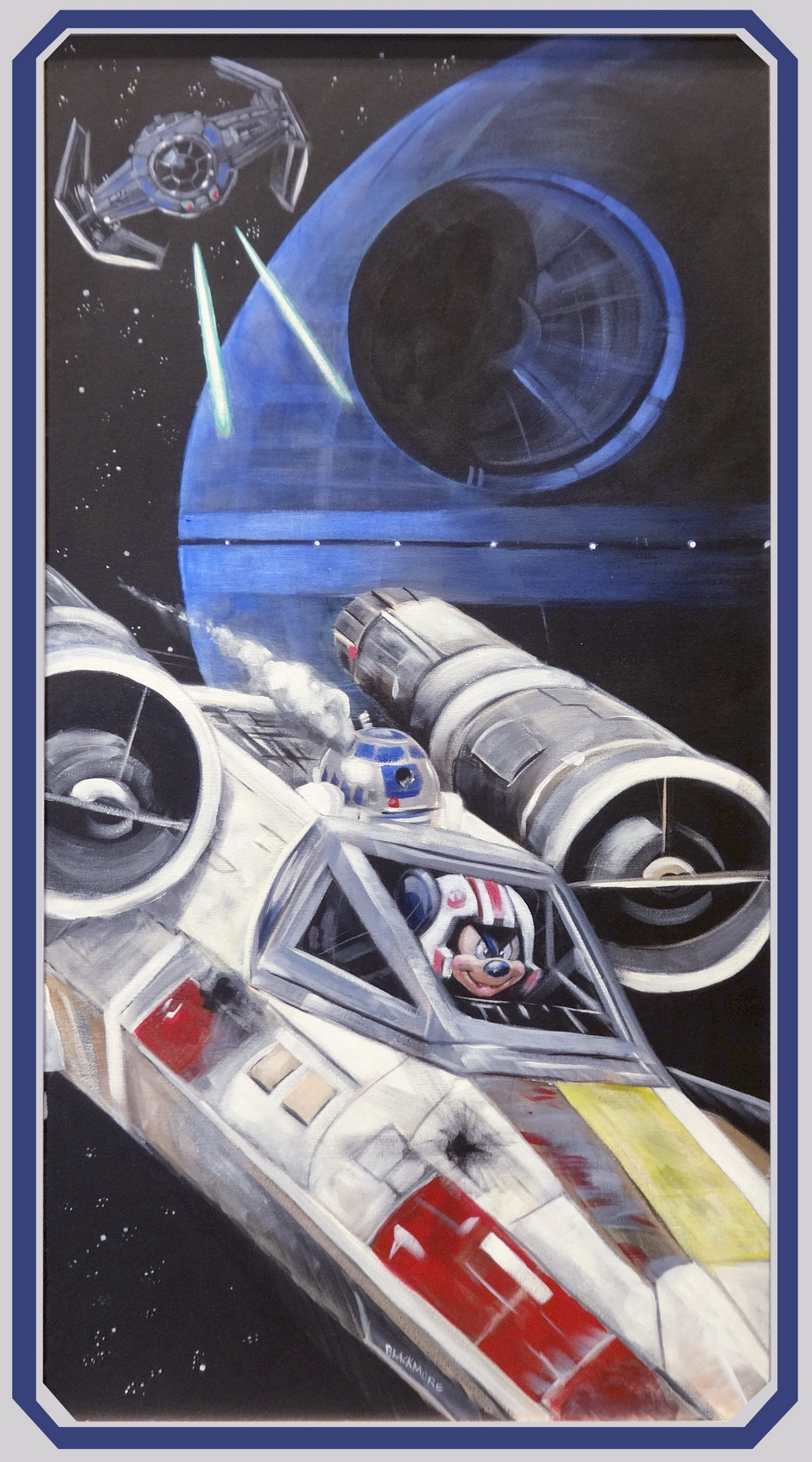 Disney Star Wars Mickey in an X-Wing Matted Print by Brian Blackmore