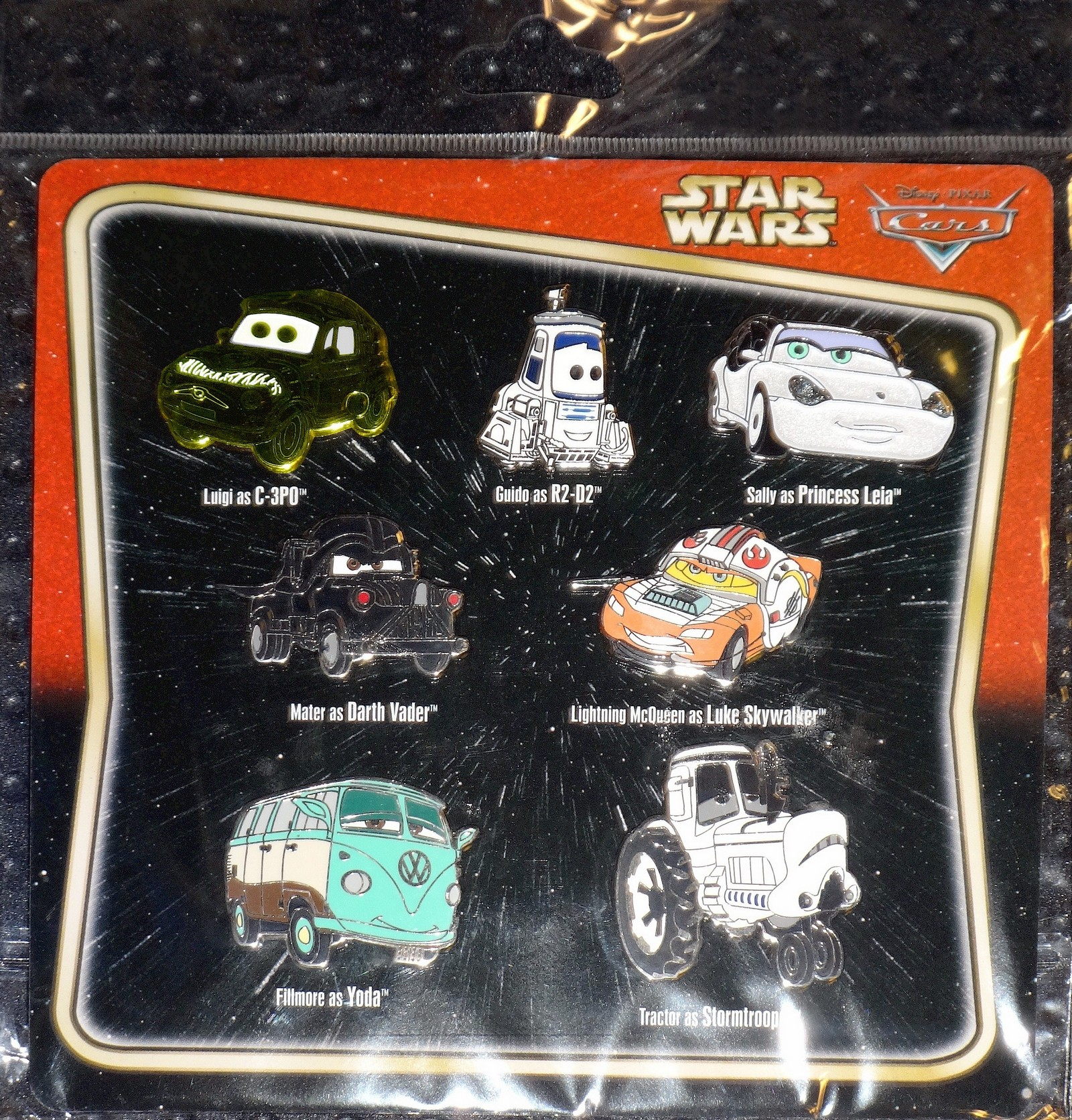 "Disney Pixar ""Cars"" as ""Star Wars"" Characters 7 Pin Set"