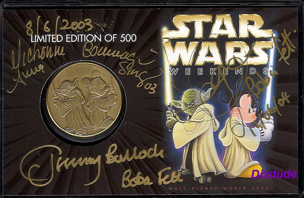 Disney's Star Wars Weekends 2003 Bronze Classic Collectors Coin LE 500 ~Autographed