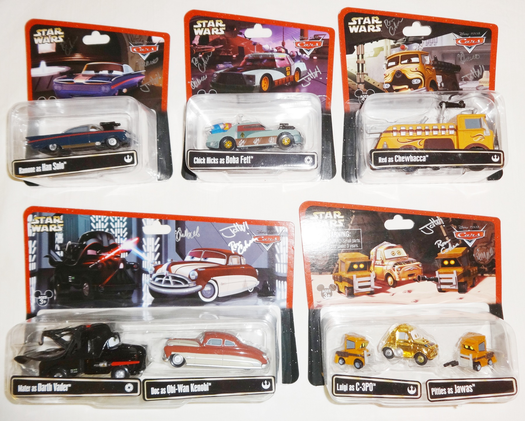 Triple Autographed Disney Pixar Cars as Star Wars Characters Series 2