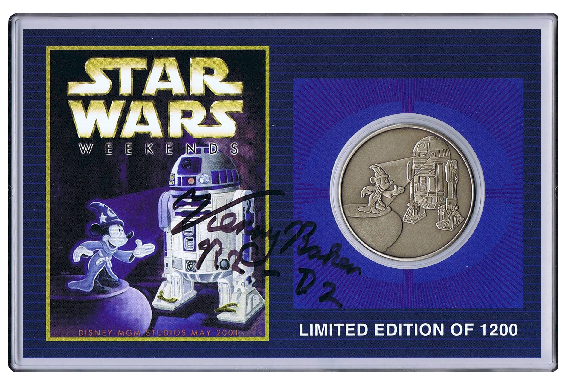 Autographed By Actor Kenny Baker Disney's Star Wars Weekends 2001 R2-D2 & Sorcerer Mickey Coin