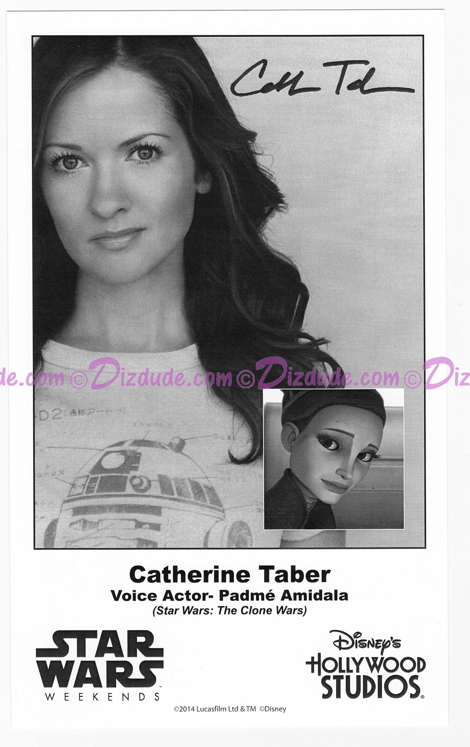 Catherine Taber the voice of Padme Amidala Presigned Official Star Wars Weekends 2014 Celebrity Collector Photo © Dizdude.com