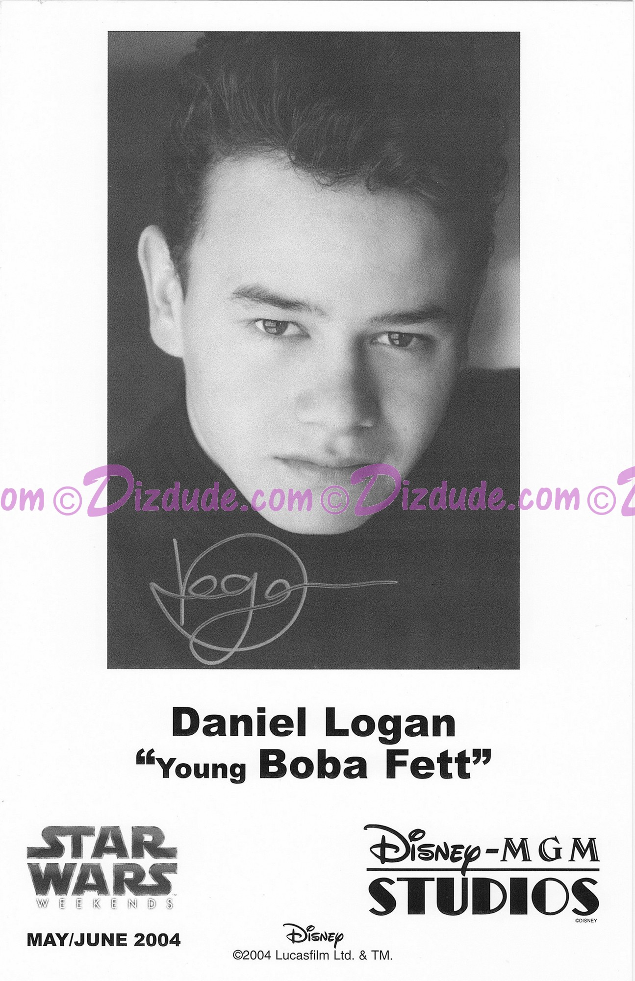 Daniel Logan who played Young Boba Fett Presigned Official Star Wars Weekends 2004 Celebrity Collector Photo © Dizdude.com