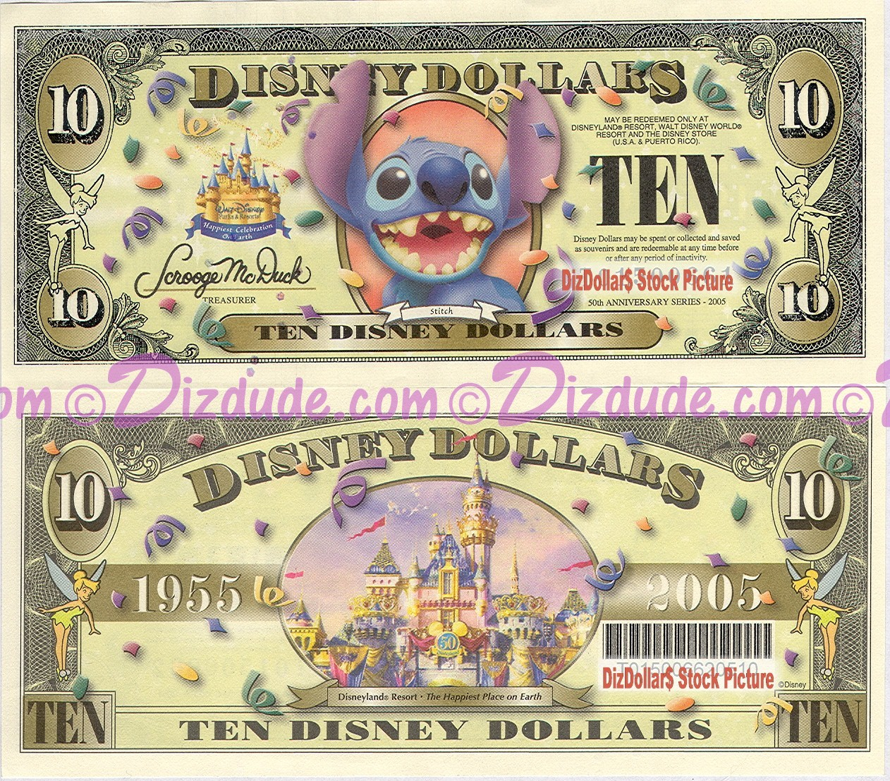 """2005 """"D"""" $10 UNC Disney Dollar - Stitch front with Disneyland Sleeping Beauty's Castle and barcode on back - """"D"""" 50th Anniversary Series from Disney World ~ © DIZDUDE.com"""