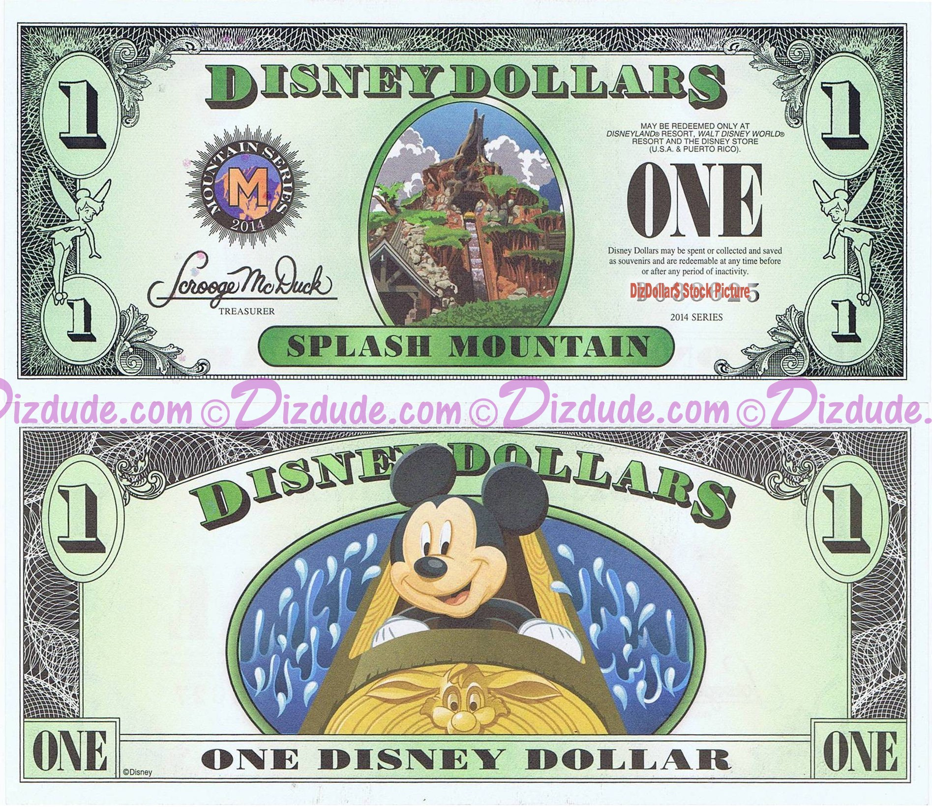 "2014 ""D"" $1 MINT UNC 5 Digit Disney Dollars - Splash Mountain Attraction front with Mickey Mouse on the ride on back - ""D"" Mountain Rides the Final Disney Dollars series from Disney World ~ © DIZDOLLARS.com"