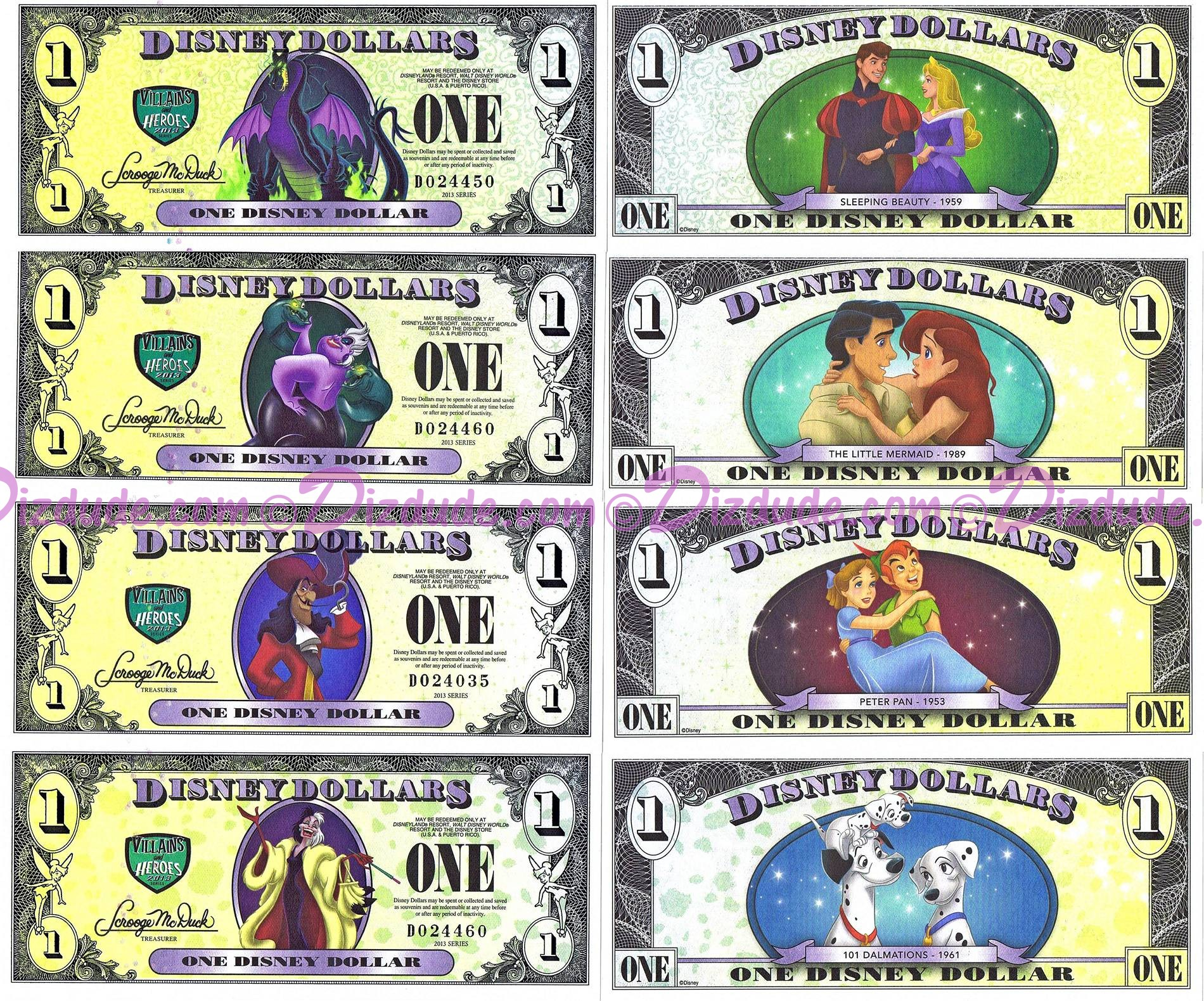 ERROR SET - Full set of all 4 Villains and Heroes Commerative 2013 series Disney Dollars back and fronts ~ © DIZDUDE.com