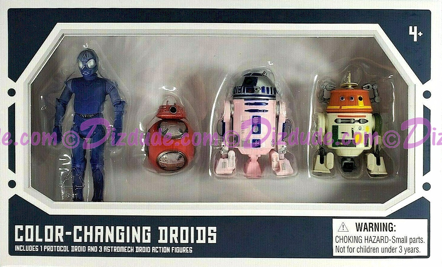 Star Wars Galaxy's Edge Color Changing 4 Droid Set from Disney World Action Figures 3¾ Inch 4 Droid Multi-Pack with 1 Protocol Droid and 3 Astromech Droids © Dizdude.com