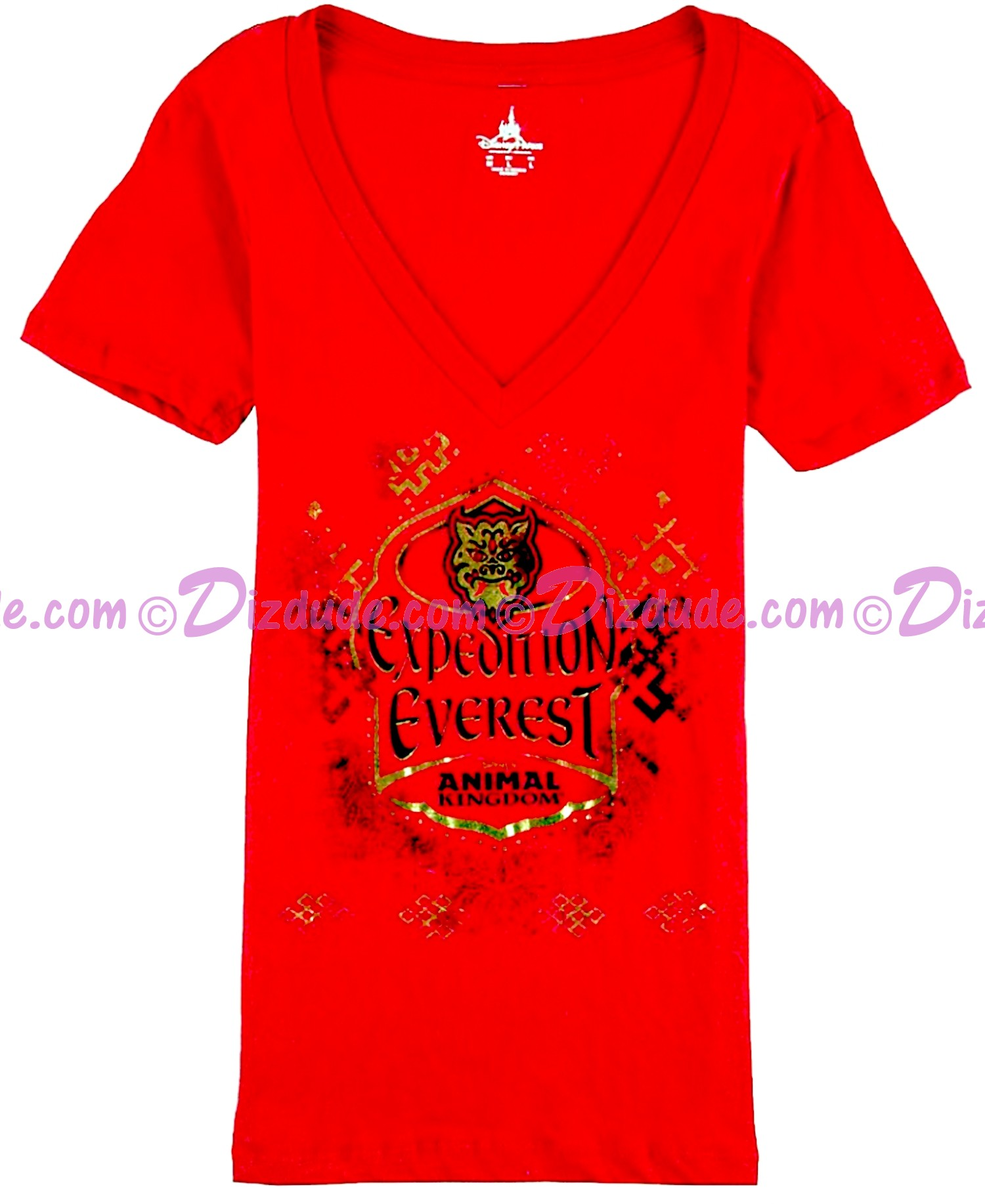 (SOLD OUT) Expedition Everest V-Neck Red Adult T-Shirt (Tee, Tshirt or T shirt) ~ Disney Animal Kingdoms