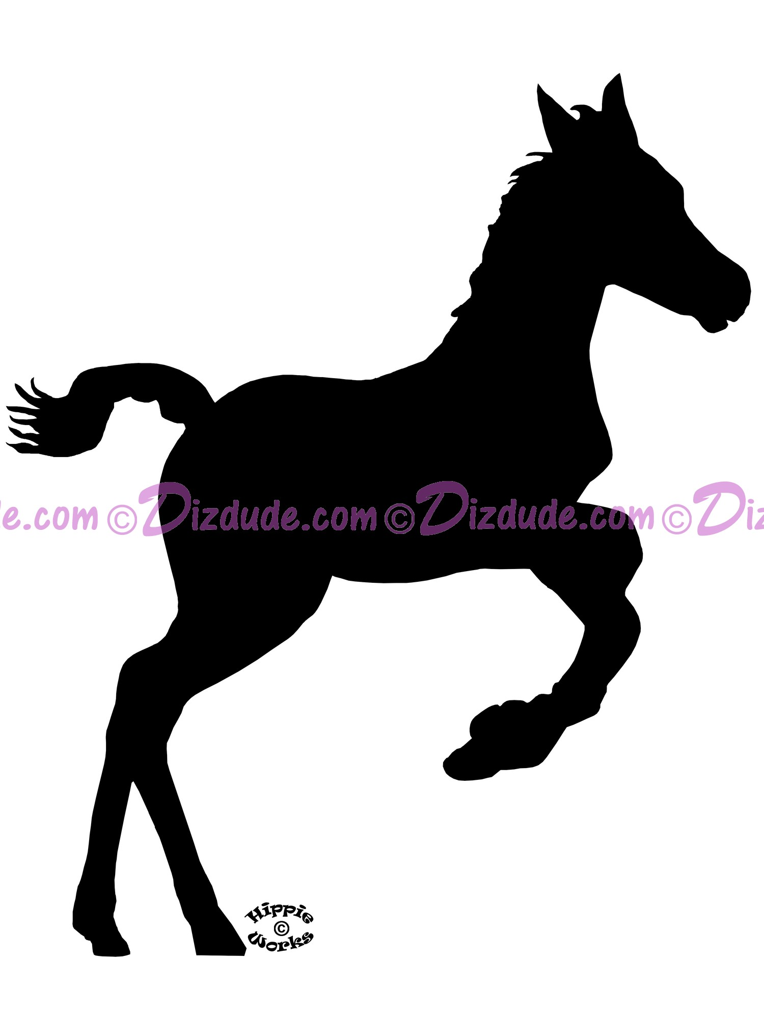 Silhouette Foal Bucking T-Shirt or Tank Top on White (Tshirt, T shirt or Tee) © Hippieworks