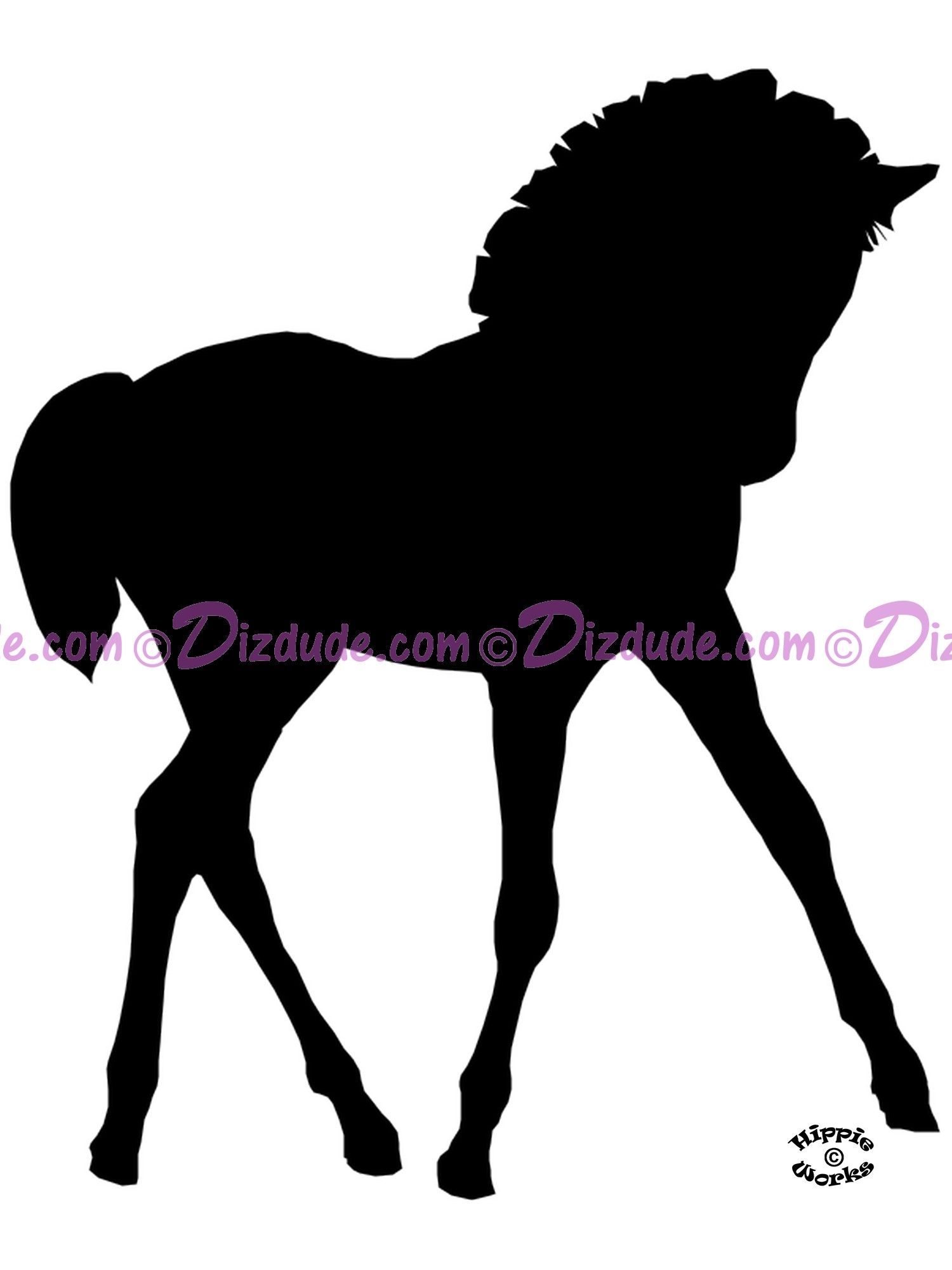 Silhouette Foal Prancing T-Shirt or Tank Top (Tshirt, T shirt or Tee) © Hippieworks