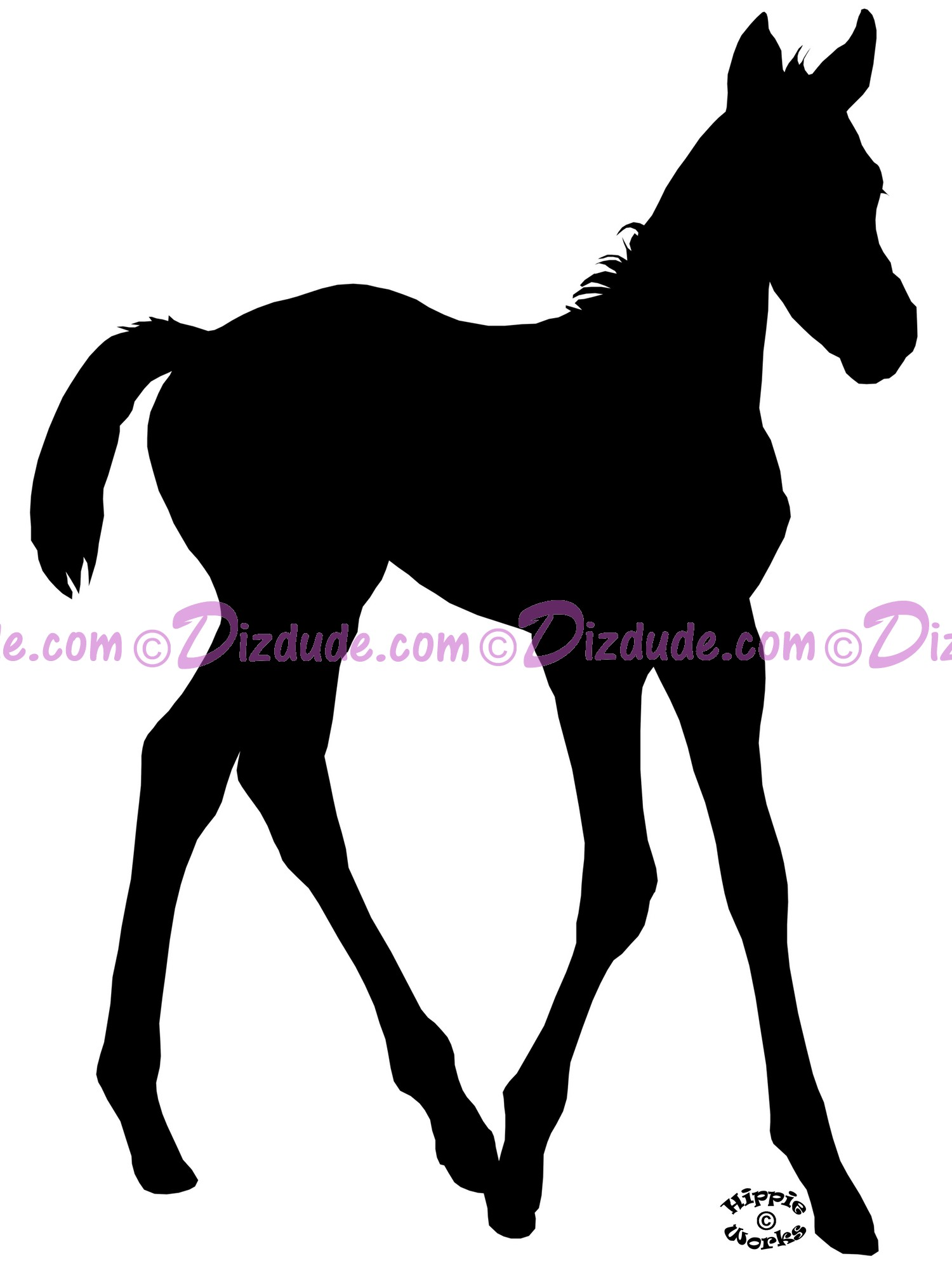 Silhouette Foal Walking T-Shirt or Tank Top (Tshirt, T shirt or Tee) © Hippieworks