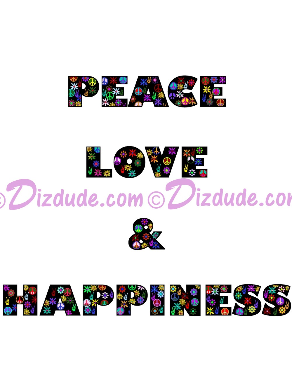 Peace Love & Happiness Black Text T-Shirt or Tank Top (Tshirt, T shirt or Tee) © Hippieworks