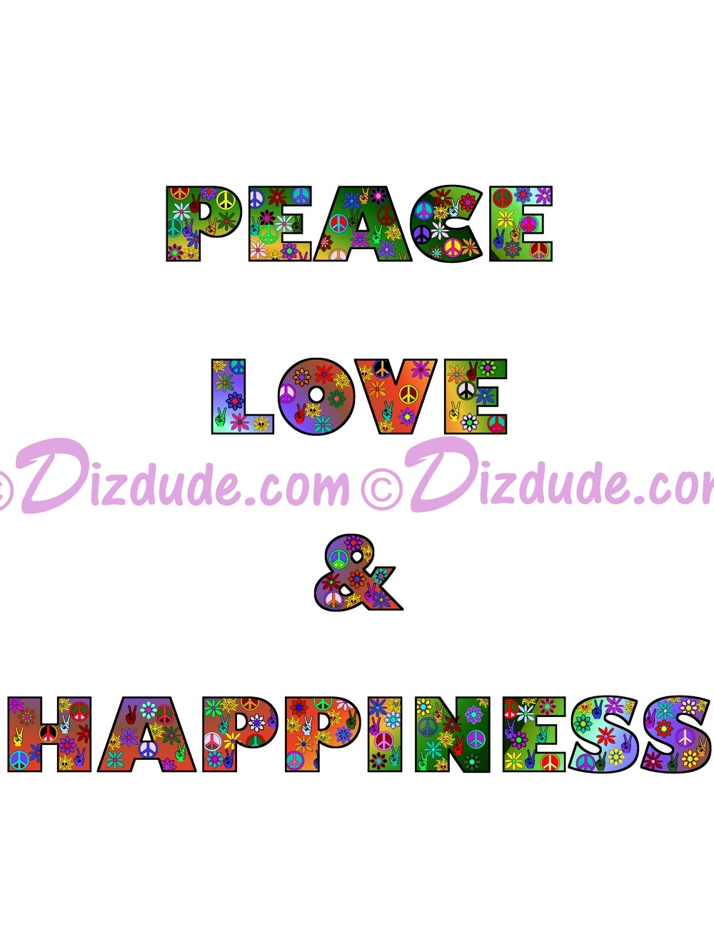 Peace Love & Happiness Rainbow Text T-Shirt or Tank Top (Tshirt, T shirt or Tee) © Hippieworks