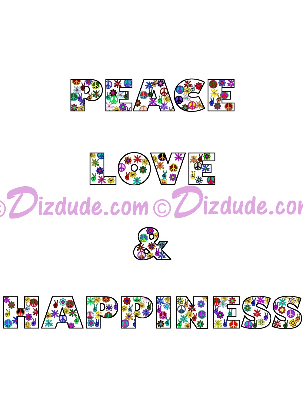 Peace Love & Happiness White Text T-Shirt or Tank Top (Tshirt, T shirt or Tee) © Hippieworks