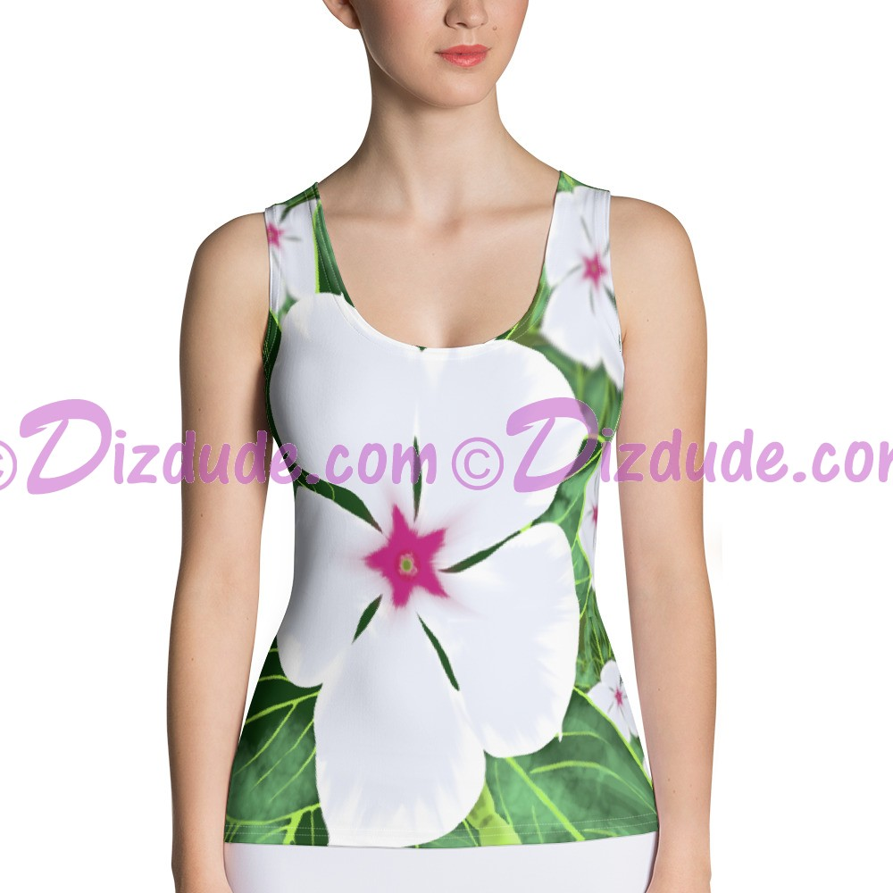 Large White Periwinkle All Over Print Ladies Tank Top © Hippieworks