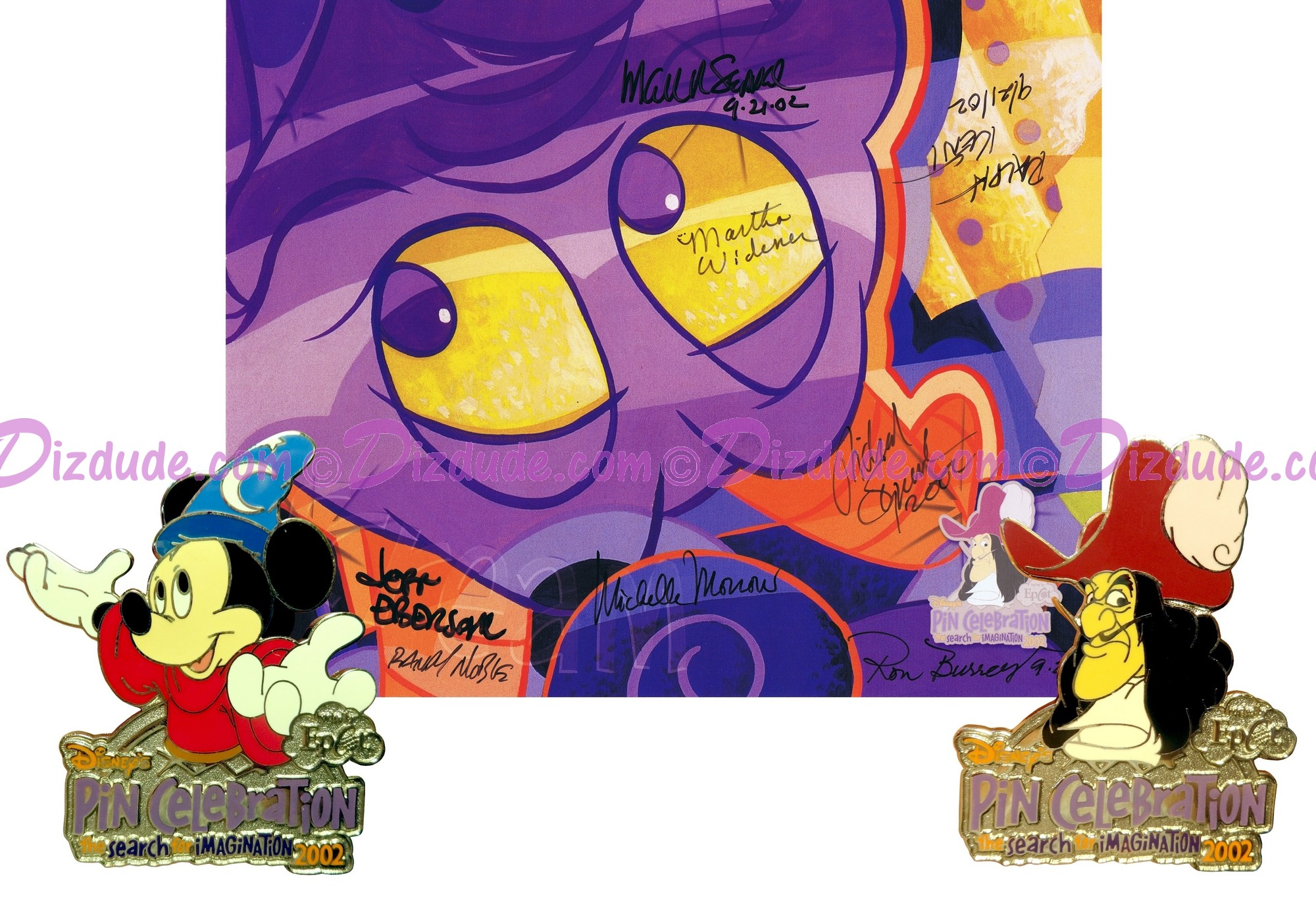 Autographed Walt Disney World Animal Kingdom - Search for Imagination Pin Event 2002 Pin-board with Captain Hook & Sorcerer Mickey Completer Pins © Dizdude.com