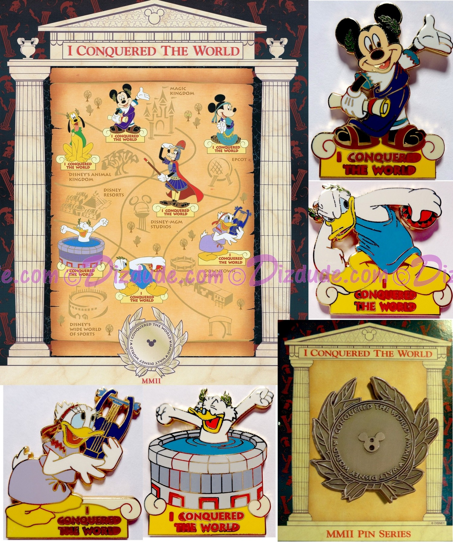 Walt Disney World Pin Pursuit Map Pin-board - I Conquered the World Pin Event with Build-a-Pin Base Completer Pin and 4 Pins