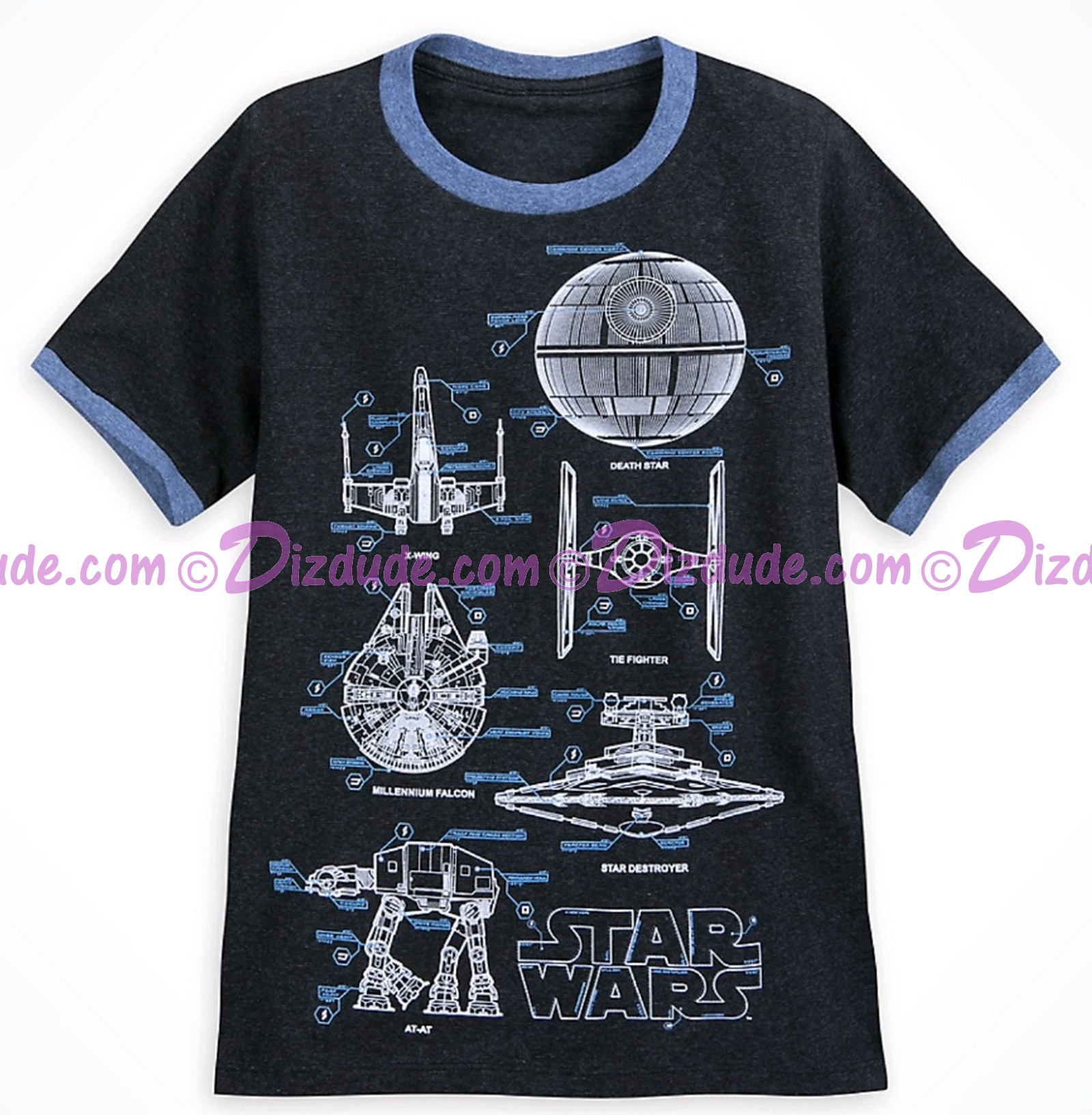 Disney Star Wars Youth Blueprint Ringer T-Shirt (Tshirt, T shirt or Tee) © Dizdude.com